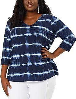 Agnes Orinda Plus Size Blouse for Women Striped Side Slit 3/4 Sleeve Tie Dye Top