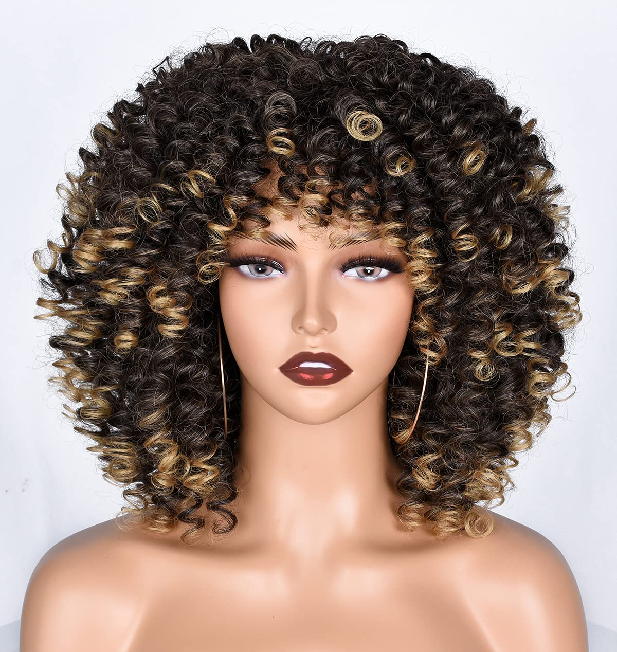 Amazon.com : Goodly Short Afro Wigs For Black Women Curly Wigs with Bangs Synthetic  Kinky Curly Hair Wig Full Wigs(1B/27) : Beauty & Personal Care