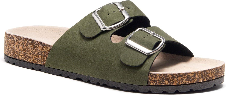 Herstyle Avalon Women's Comfort Double Buckled Slip on Sandal Casual Cork Platform Sandal Flat Open Toe Slide shoes