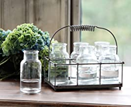 Antique Style Wire Caddy with Milk Bottles – Set Includes Six Milk Bottles
