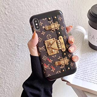 TearTheBear iPhone Xs Case,iPhone X Case,Monogram Designer Vintage Leather Trunk Case with Phone Stand for iPhone Xs,iPhone X
