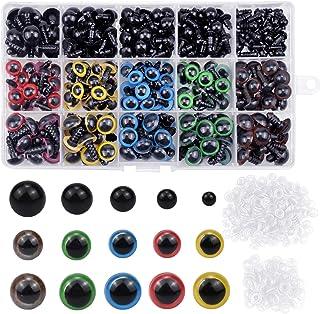 NATUCE 310PCS Colorés Yeux de Securite en Plastique, 6-12MM Coloré Yeux avec Rondelles, Yeux en Plastique Yeux de Poupée p...