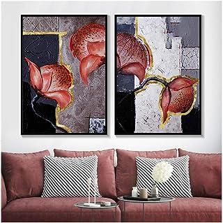 Jwqing - Juego de 2 pinturas y impresiones florales de grandes dimensiones sobre lienzo de flores pintadas con acuarela roja oscura elegante floral tradicional (40 x 60 cm x 2 sin marco)
