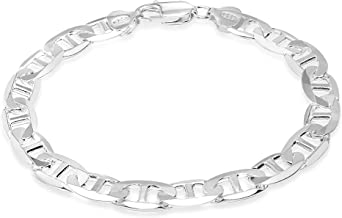 Honolulu Jewelry Company Sterling Silver 4.5mm - 8mm Mariner Link Chain Necklace or Bracelet, 7.5
