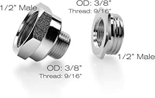 Frizzlife Brass NPT Thread Pipe Fitting Converter - 1/2 to 3/8 inch Comp Water Supply Angle Stop Valve Adapter for Reverse Osmosis Water Filters(3/8
