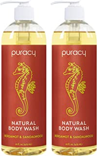 Puracy Body & Hand Wash, Bergamot & Sandalwood, Natural Shower Gel for Men and Women, 16 Oz (2-Pk)