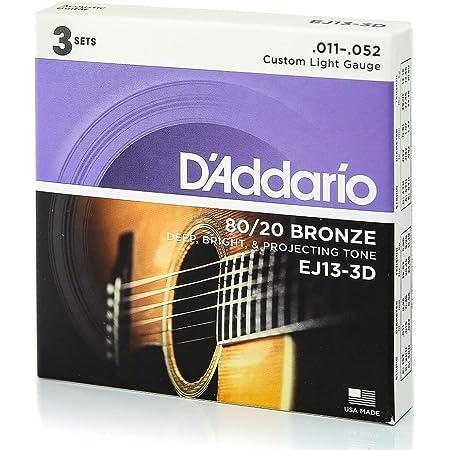 D'Addario EJ13-3D 80/20 Bronze Acoustic Guitar Strings, 11-52, 3 Sets, Custom Light