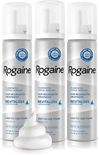 Men's Rogaine 5 Pure Minoxidil Foam for Hair Loss and Hair Regrowth, Topical Treatment for Thinning Hair, 3-Month Supply