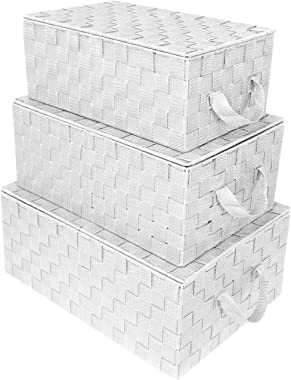 Sorbus Storage Box Woven Basket Bin Container Tote Cube Organizer Set Stackable Storage Basket Woven Strap Shelf Organizer Bu