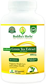Sponsored Ad - Decaffeinated Green Tea Extract - 400mg (50% EGCG) - 200 Veg Capsules for Weight Loss - Independently Labor...