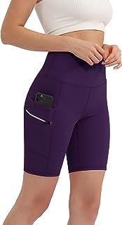 "ODODOS Women's Dual Pockets High Waisted 8"" Workout Shorts, Yoga Running Cycling Hiking Athletic Biker Shorts"