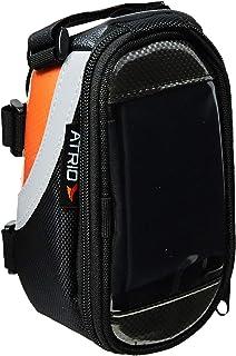 Bolsa com Porta Celular para Bicicleta Capacidade de 0,6L Impermeável com Touch Material em Poliéster e PVC Preto/Laranja ...