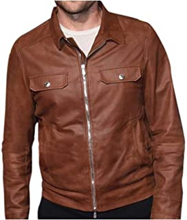 Mens Star Bradley Trucker Style Jackson Casual Brown Leather Outerwear Jacket