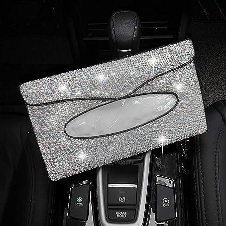 Silver Crystal Diamond Napkin Holder for Car Bling Car Visor Tissue Holder Set of 2 Girly Car Accessories for Women