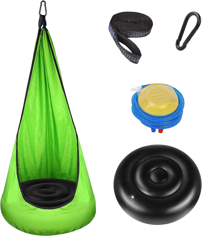 Asiento Columpio para Niños, Sooair Silla Giratoria para Niños, con Kits de Hardware y Bomba de Aire para Colgar la Silla Hamaca Columpio para Niños, Uso en Interiores