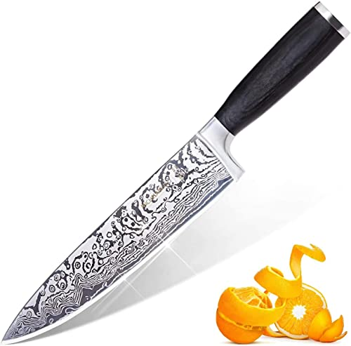 wholesale MICHELANGELO Super Sharp Professional high quality Chef's Knife with Etched Damascus discount Pattern, High Carbon Stainless Steel Japanese Knife, Chef Knife for Kitchen - 03 online sale