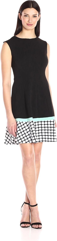 Sandra Darren Womens 1 Pc Sleeveless Extended Shoulder Solid Knit with Border Print Sheath Dress Dress