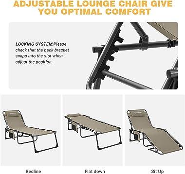 KingCamp 4-Fold Outdoor Folding Chaise Lounge Chair for Beach, Sunbathing, Patio, Pool, Lawn, Deck, Portable Lightweight Heav