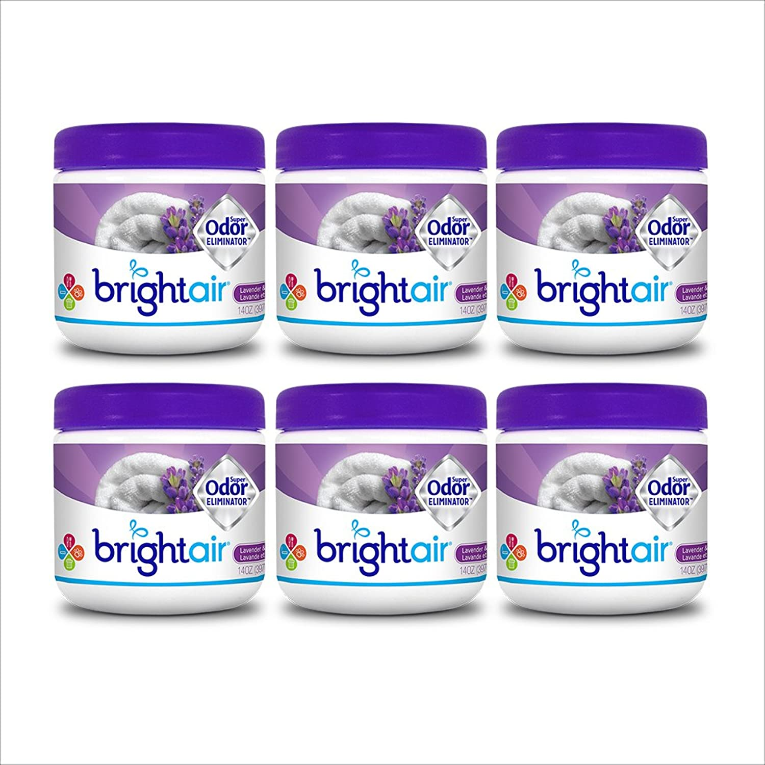 Bright Air Solid Air Freshener and Odor Eliminator, Lavender and Fresh Linen Scent, 14 Ounces, 6 Pack