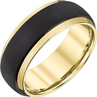 خاتم رجالي من مادة التنجستن باللون الأسود والأصفر من AX Jewelry