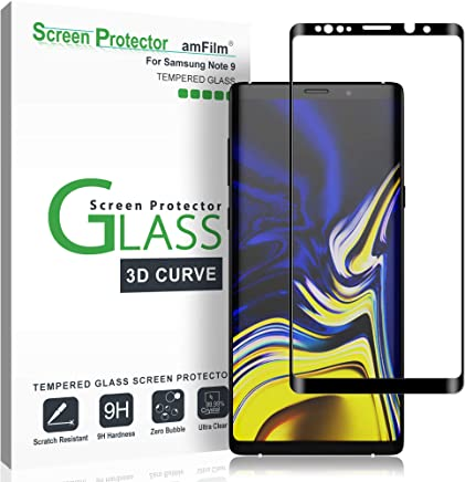 amFilm Glass Screen Protector for Samsung Galaxy Note 9, Full Screen Coverage, 3D Curved Tempered Glass, Dot Matrix with Easy Installation Tray (Black)
