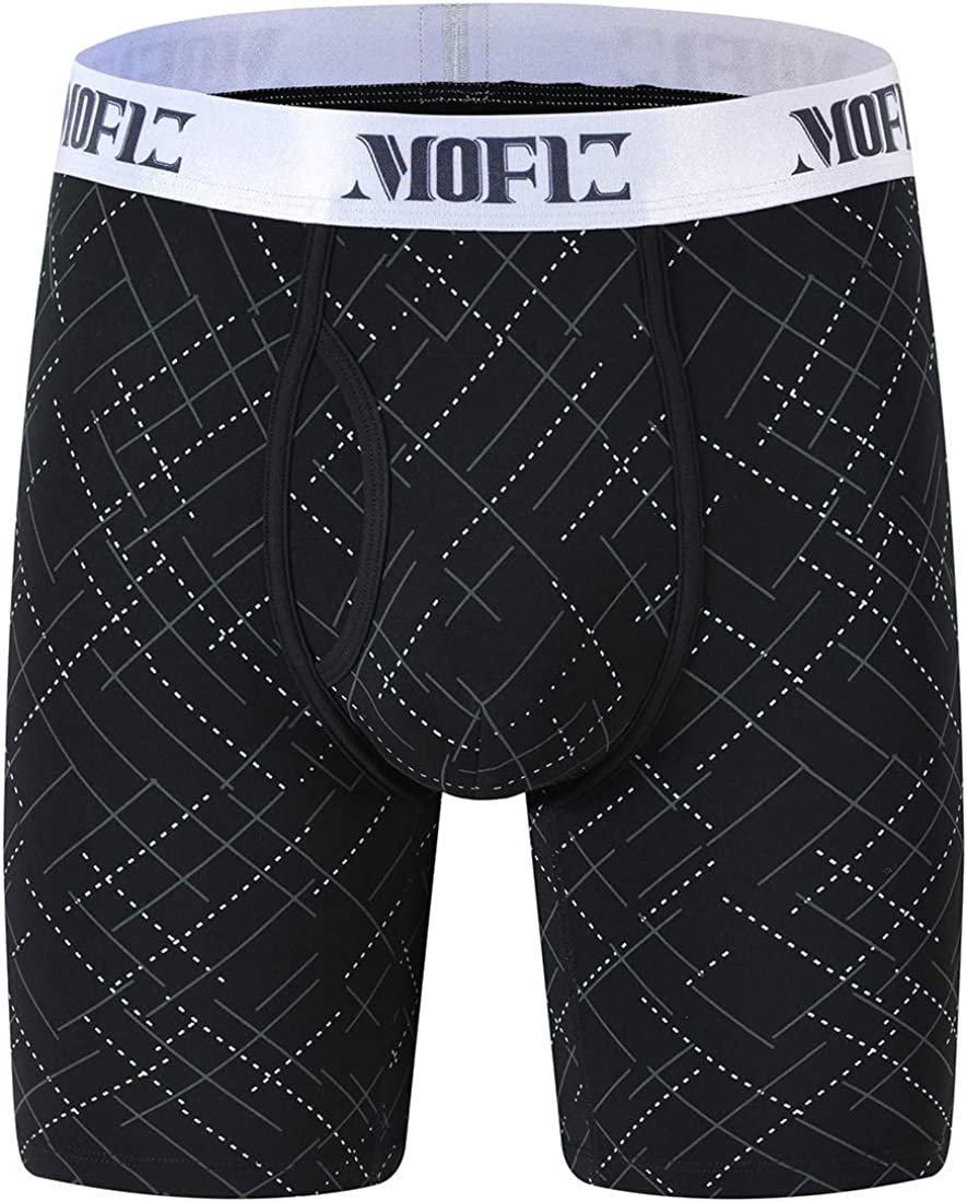 JINSHI Mens Bamboo Stretch Boxer Briefs Long Leg Printed Comfortable Underwear