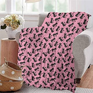 Luoiaax Cat Lover Children's Blanket Feline Silhouette Domestic House Pets Abstract Animal Pattern Curved Tails Lightweight Soft Warm and Comfortable W80 x L60 Inch Pale Pink Black