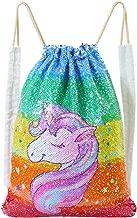 ICOSY Mermaid Sequin Bag Unicorn Drawstring Backpack Dance Bag Gym Sack for Kids