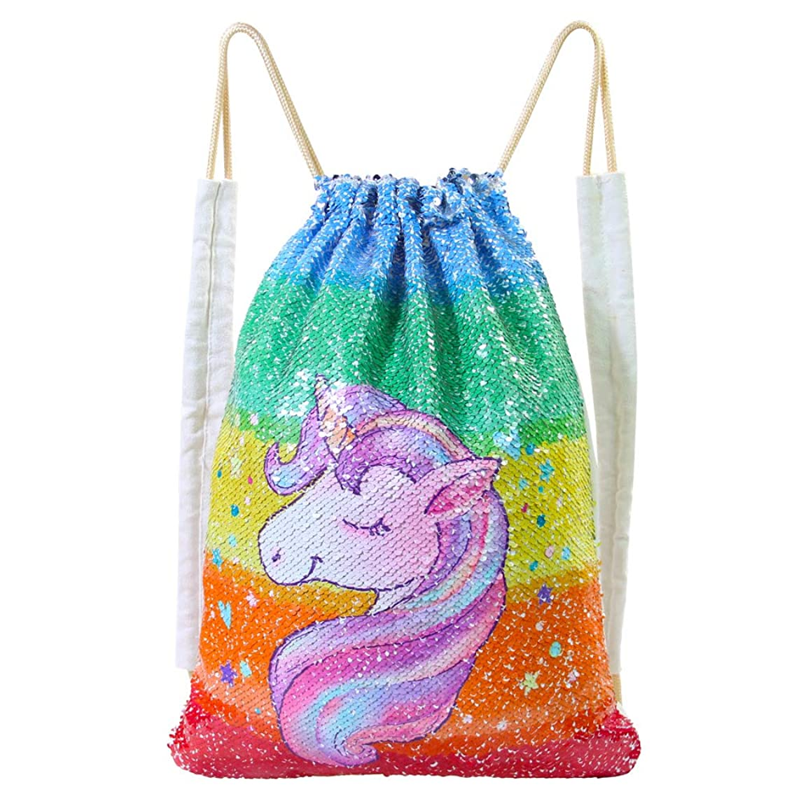 ICOSY Mermaid Sequin Bag Magic Reversible Sequin Drawstring Backpack Glitter Dance Bags Flip Sequins Backpack Bags Shining Sports Backpack for Kids Adults (13.8