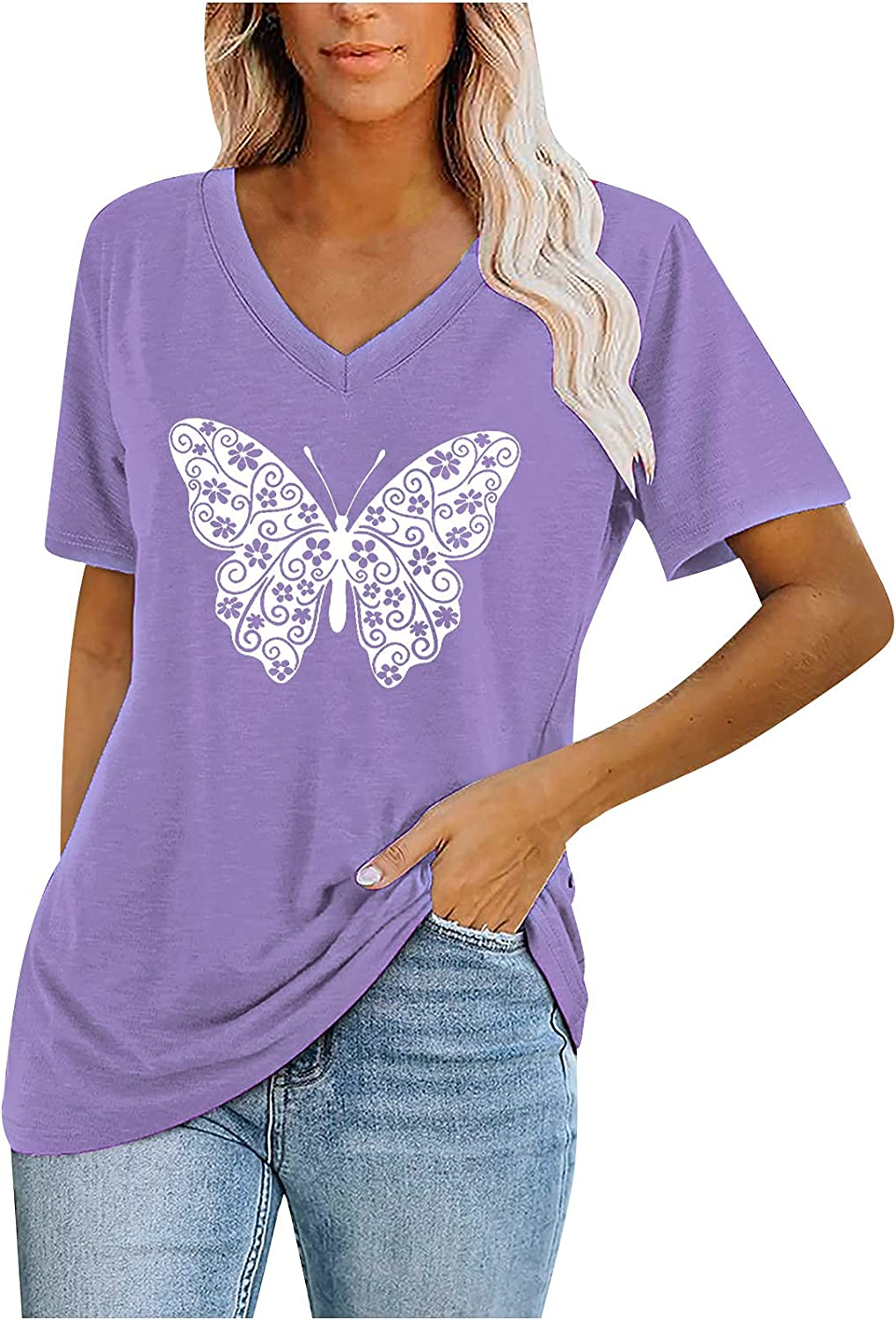 Summer Women Tunic Top Notched V Neck Short Sleeve Casual Top Shirt Tee Large Butterfly Graphic Loose Fit Blouse Tops