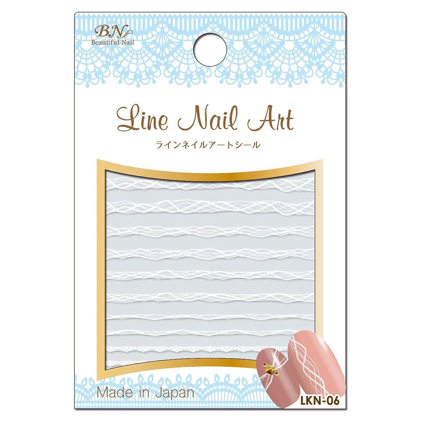緩めるけがをする内部BN ラインネイルアートシール LKN-06 ラインアート ホワイト (1シート)