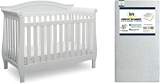 Delta Children Lancaster 4-in-1 Convertible Baby Crib, Bianca White + Serta Perfect Slumber Dual Sided Recycled Fiber Core...
