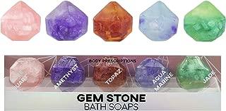 Body Prescriptions Gem Stone Bath Soaps, 5 Gem Birthstone Shaped Soap Rock for Bath or Display, Party Favor and Gift for Women and Girls, 1.06 Oz Bath Gem Soaps