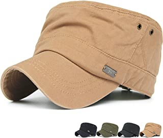 Rayna Fashion Men Women Soft Washed Cotton Adjustable Flat Top Military Army Hat Cadet Cap