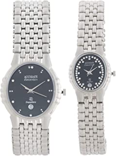 Accurate Watch Set For Unisex Analog Stainless Steel - AMQ867-ALQ867-B