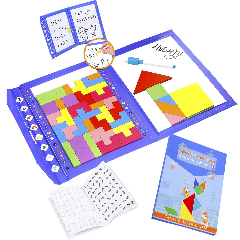 HVDHYY Tetris de Madera Magnético Tangram Puzzles 47 Piezas de Rompecabezas Viaje Jigsaw Educativos Montessori Juguetes Viene como Regalos de Cumpleaños para Niños y de Navidad 3 en 1: Amazon.es: Juguetes y juegos
