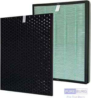 Pureburg Replacement HEPA Filter and Charcoal Based Activated Carbon Filter for RabbitAir BioGS 2.0 Model SPA-550A and SPA-625A Air Purifier