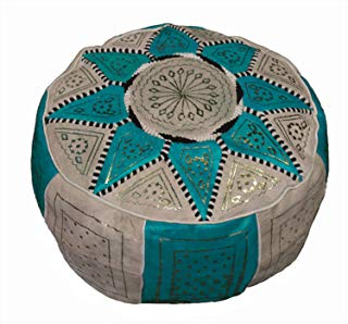 Moroccan Pouf Ottoman Footrest Hassock Handmade Leather Comfortable Unstuffed