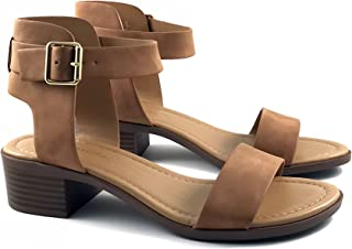 CITYCLASSIFIED City Classified Cardio Chunky Buckle Strap Over The Ankle Sandal Brown Size: 8.5