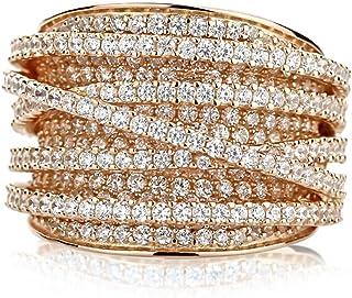 纯银 14K 金或玫瑰镀金交织设计方晶锆石精美爪镶右手戒指 15mm