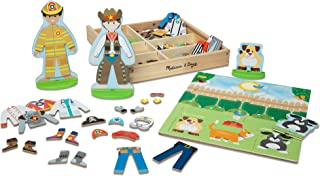 Melissa & Doug Occupations Magnetic Dress-Up Wooden Dolls Pretend Play Set (73 Pieces, Great Gift for Girls and Boys - Best for 3, 4, 5, 6, and 7 Year Olds)
