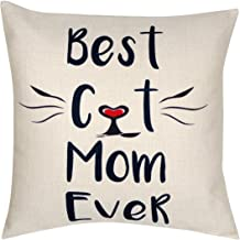 DECOPOW Best Cat Mom Ever Throw Pillow, Decorative Throw Pillow Case 18X18 (Best Cat Mom)