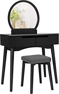 VASAGLE Vanity Set, Makeup Dressing Table with Round Mirror, 2 Large Drawers with Sliding Rails, Cushioned Stool, Black UR...