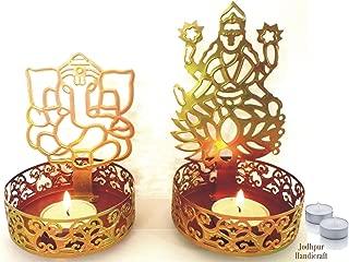 KITCHEN SUPPLIER Jodhpur Handicraft Shadow Diya Tealight Candle Holder of Laxmi ji Ganesh ji with 4 Tealight Candles Happy Diwali 2019 Collection