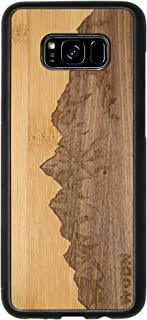 Wooden Phone Case (Sawtooth Mountains | Bamboo Sky) Compatible with Galaxy S 8 Plus, Samsung Galaxy S 8 Plus