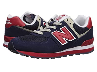 New Balance Kids 574 Classic (Toddler/Little Kid/Big Kid) (Navy/Red) Kids Shoes