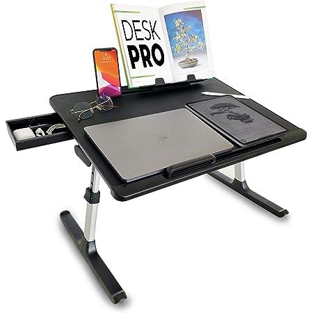 Cooper Desk PRO [XL Adjustable Folding Laptop Desk] - Height & Tilt Angle   Leather Top for Work, Study, Bed   Reading Stand, Drawer (Midnight Black)