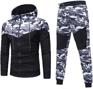 Gusspower Sudadera Hombres de Camuflaje, Sudadera +Pantalones Conjuntos de chándal de Traje Deportivo Suit Tracksuit otoñal/Invierno