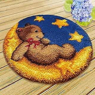 MLADEN DIY Crochet Yarn Kits,Needlework Latch Hook Kit Unfinished Crocheting Rug Yarn Cushion Embroidery Carpet Set (Moon,17.5