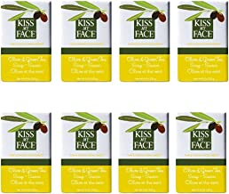 Kiss My Face Moisturizing Bar Soap, Pure Olive and Green Tea, 8 oz Bars, (pack of 8)